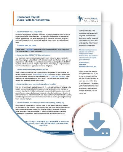 Nanny Work Agreement Tip Sheet