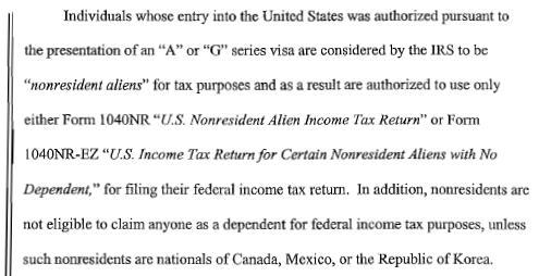 G Visa Income Taxation