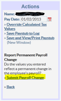 Record Nanny Payroll Change