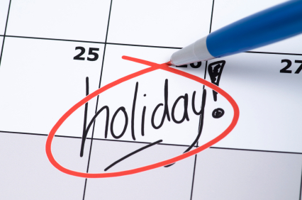 Holiday marked on calendar