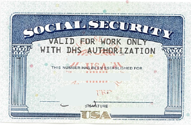 Social Security Card valid only with DHS authorization