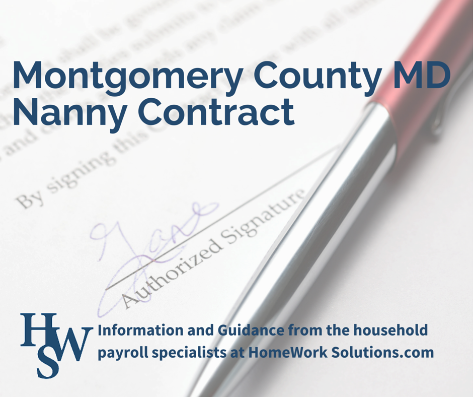 Montgomery County MD Nanny Contract