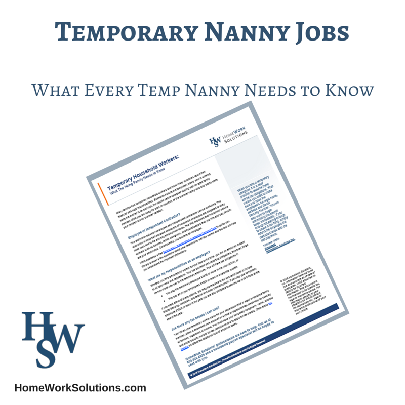 Payroll Taxes for the Temporary Nanny